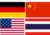 Germany, China, USA, Thailand flags